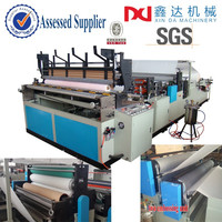 Automatic printing toilet paper roll and gluing perforated kitchen paper roll machine