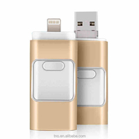 Hot sale Metal golden 3 in 1 OTG pen drive 16gb OTG USB stick wholesale alibaba