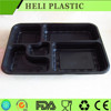 Black color PP microwaveable food trays with 5 compartments