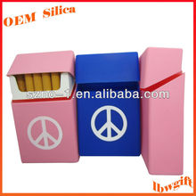 Standard Size for 20 pieces Soft hand feel customized PEACE Printed silicone rubber cigarette case