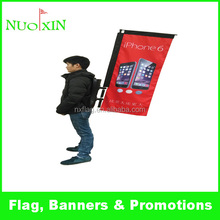 promotion portable telescopic outdoor advertising backpack flag banner