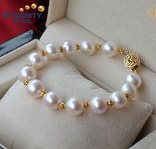2015 cuentas de plata esterlina con chapado en oro forma redonda brazalete de perlas de agua dulce blanco