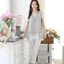 HJC-1070 Veri Gude Summer Korean round collar striped short sleeve loose ladies midi chiffon blouse