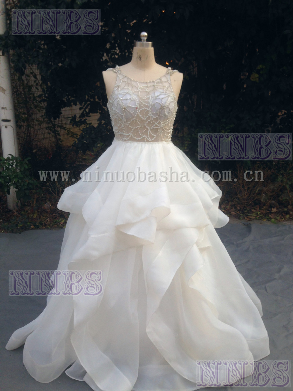 product jewel organza wedding dress with ruffled skirt
