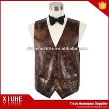 chaleco de cuero marrón personalizado para hombre