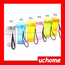 UCHOME 350ml Portable Plastic Leak-proof Water Bottles With Ropes Cycling Camping Transparent water Bottle