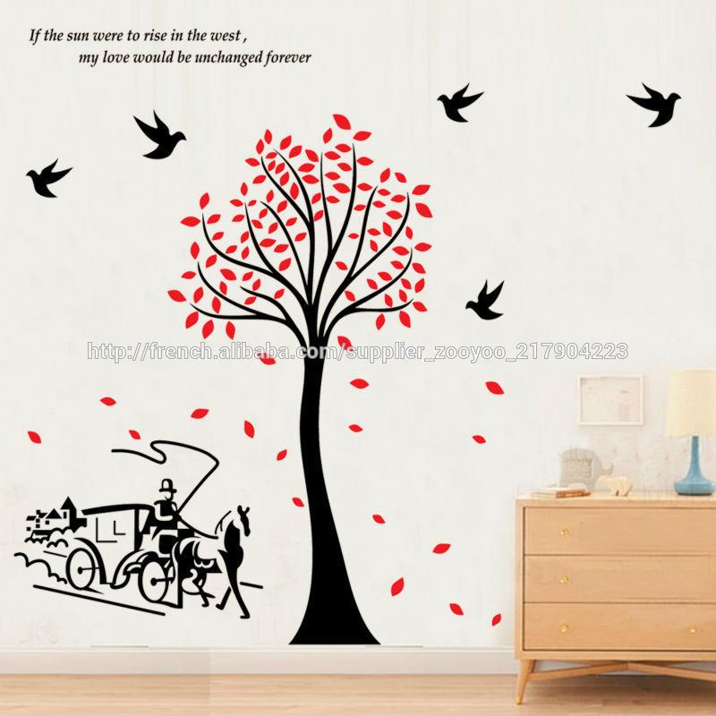 zy2178 oiseaux arbre pvc mural transport stickers papier. Black Bedroom Furniture Sets. Home Design Ideas