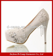 WS-019 Cheap rhinestone pearls high heel shoe with thin heels ivory lace wedding shoe bridal wedding shoes