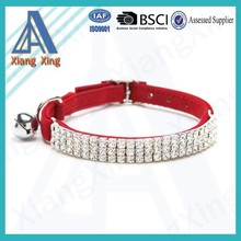 Fashion design small size bell bling pearl rhinestone dog collar wholesale