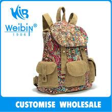 2014 FLA Audit China Supplier Cheap Fashionable Teen Natural Canvas Backpack Drawstring Canvas Backpack Bag