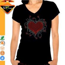 Beautiful heart transfer motif rhinestone designs for wholesale china brand women tshirt