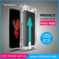 Fast Install Privacy Screen Protector with Easy Applicator Tray for iPhone 6s, 0.33mm Tempered Glass