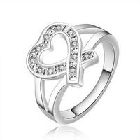 SJ Romantic Size 7 8 Copper Pave CZ Love Heart Ring