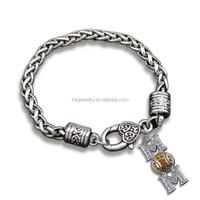 High Quality Sports Silver Lobster Clasp Crystal Baseball Mom Charm Bracelet
