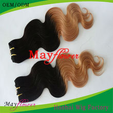 Wholesale Cheap Price Weave Remy Human Hair Weft Color two tone