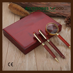 2015 100% natural wood case within wooden pens and Magnifier in a set