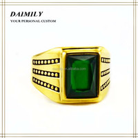 Guangzhou Jewelry Market Good Sale Fashion Ring Plated Gold Stainless Steel Green Gemstone Ring