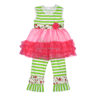 2014 Hot Sale Stylish Sleevelss Green Stripe Tutu Dress Organic Cotton Clothing With Long Pants Kids Boutique Summer Outfits