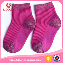 Plain kids 100% pure cotton ankle socks colored heel and toes for school student