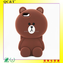 "Brown Bear mobile phone case 3D Cartoon Cute Soft Silicone Case Cover for 5S,6 4.7"",5.5"""