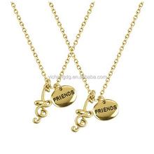 Fashion Music Treble Clef Design Pendant, Music Lovers Best Friends Treble Clef Quarter Note Bff Forever Necklace Set
