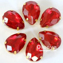 Factory Crystal Pointed Back Siam Opal Peardrop with claw Opal sew on Stone Price