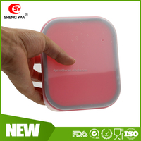 600 ML square collapsible silicon lunch box with Leakproof design for Christmas Promo