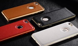 Hot selling Wholesale China Luxury Leather Back + Metal Bumper Frame Case Cover for iPhone 6