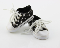 18 inch american girl doll sneakers white dots black doll shoes for 18 inch dolls