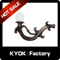 2015 new design star hotel luxurious decorative curtain hook, crystal finial aluminum tieback, bathroom decor metal curtain part