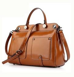 2015 fashion latest wax leather ladies handbags