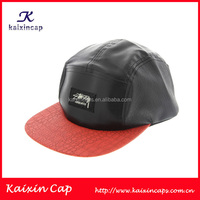 wholesale high quality leather and snakeskin 5 panel hat with woven label wholesale