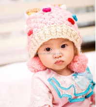 new baby girl candy knitted beanie caps with bowknot
