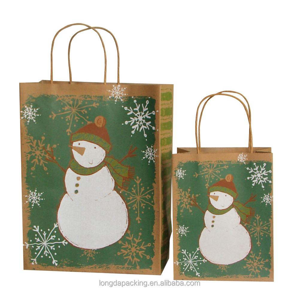 Wholesale printed christmas brown kraft paper gift bag