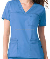 OEM 5pockets V neck Medical scrub top hospital staff work uniform with logo
