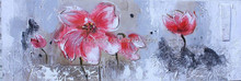 Prosperous red flower canvas painting 43987