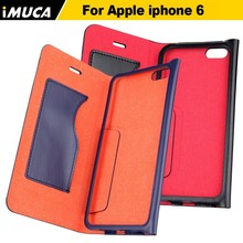 New design metal bumper leather Magnetic book phone case for iPhone 6 4.7'', wallet flip case for Apple iPhone 6