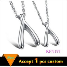 Custom Silver Couple Necklace for Lovers, Fashion Charm Y Couple Alphabet Letter Pendant Necklace