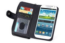 BRG Detachable Magnetic Zipper Wallet Leather Flip Case Cover For Samsung s4