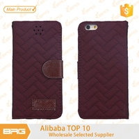 BRG luxury Woven Design flip leather cases and cover for iphone 6 plus with card slots
