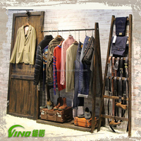 Wood clothing shops decorations, clothing display funiture, clothes display stand for shop