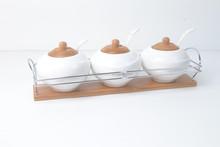 high quality wholesale ceramic salt pepper container /ceramic cookware wholesale/3pcs set ceramic season pot roast whole sale