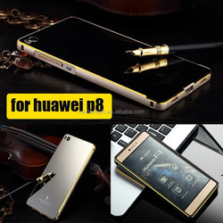 for huawei p8 case Ultra Slim plated dual colors Aluminum Metal Bumper Case For Huawei Ascend P8 with Arcylic back cover