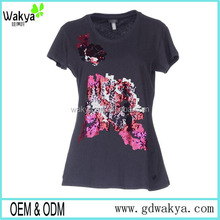 Fashion summer china cheap promotional t shirts sequin embroidered woman t shirt wholesale