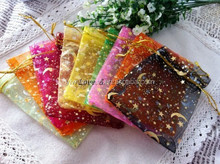 100pcs High Quality 9x12cm Assorted Color Moon Star Pattern Organza Wedding Gift Candy Bags
