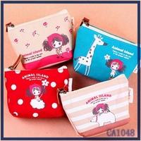 New arrival design wholesale 2016 Korea style branded ladies purse cute cartoon printed canvas card wallet