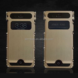 Luxury Stainless steel case with window for iphone Hard flip cover skin phone case for iphone 5 5c 5s, bulk buy case for iphone