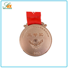 Promotional excellent quality brass round ribbon award medals