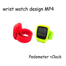 Wrist watch silicone band mp4 player for Pedometer +Clock