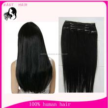 Virgin Brazilian hair clip in hair extension 100g/pack blonde black color